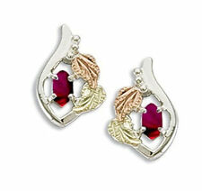 Black Hills Gold womens earrings synthetic birthstone on .925 sterling silver
