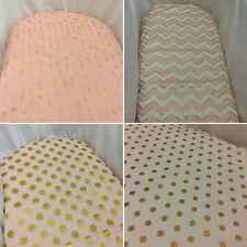 Bassinet, Moses or Boori basket fitted sheets, 100% cotton Pink & gold