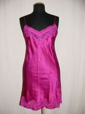 AUBADE Negligée Nuisette Night Gown Projection Privée Silk & Lace Fuchsia NEW