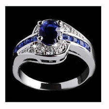 Women Blue Sapphire White Gold plated Engagement Ring Jewelry Size 7 8 9