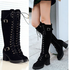 Classic Fashion Womens Buckle Knee High Boots Suede Leather Lace Up Boots Size