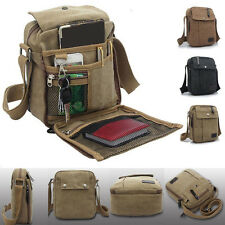 Men Boy Vintage Canvas Leather Satchel School Military Shoulder Messenger Bags