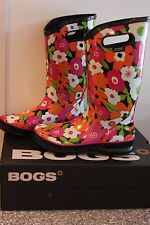 BOGS WOMENS RUBBER TALL PULL ON BOOTS #71927 SPRING FLOWER NIB WATERPROOF