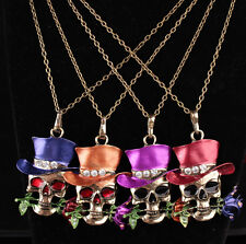 Newest Skull Flower Necklace Silver Plated Unisex Décor Gifts Pendent Jewelry