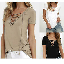 HOT  Womens Loose Pullover Short Sleeve Tee Shirt Tops Blouse V Neck With Straps
