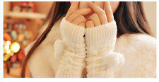 New Gloves Arm Warmer Fingerless Knitting Wool Ball Gloves-Knitted Trim Mitten