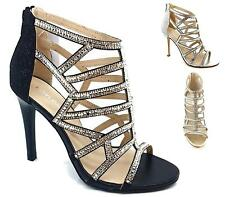 LADIES DIAMANTE CUT OUT ZIP UP SANDALS PEEP TOE SHOES STRAPPY HEELS CAGED SIZE