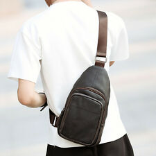Men PU Leather Cross Body Messenger Shoulder Bag Travel Hiking Casual Sling Pack