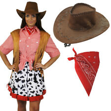 COWGIRL COSTUME LADIES WOMENS WILD WEST COWBOY FANCY DRESS WESTERN COW GIRL