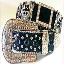 Western Cowgirl Rhinestone Studded Black Crystal Black Leather Belt Limtd Ed lot