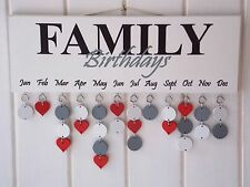 Family Birthday Reminder Plaque Board Calendar Wedding Mothers Day Gift