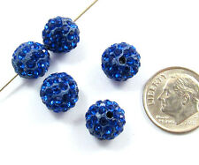 Shamballa Rhinestone Clay Pave Round Beads-ROYAL BLUE 10mm (5)