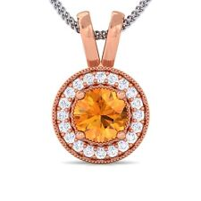 Orange Citrine GH SI Diamond Round Halo Gemstone Pendant Women 18K Rose Gold