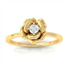 0.10ct GH SI Solitaire Round Diamond Rose Engagement Ring Women 18K Yellow Gold