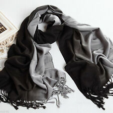 New Women's Fashion Black Gray 100% Cashmere Pashmina Soft Wrap Shawl Scarf