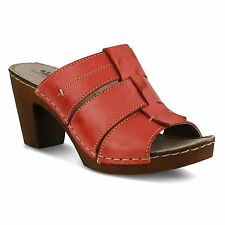 Spring Step BAYBERRY Womens Red Leather Heels Sandals Slides