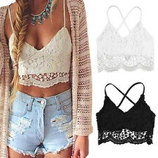 Sexy Women Crop Top Lace V Neck Spaghetti Strap Backless Tank Camisole Bralette
