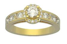 1.35Ct Natural Diamond Halo Solitaire Engagement Ring 14K Solid Gold Appraisal
