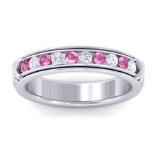 Pink Sapphire FG SI Fine Diamonds Half Eternity Womens Band 14K White Gold