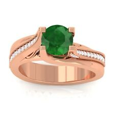 Green Emerald FG SI Gemstone Diamonds Engagement Ring Women 14K Rose Gold