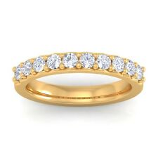 0.50ct GH SI Natural Diamonds Half Eternity Wedding Band Women 18K Yellow Gold
