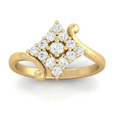 0.24ct GH SI Real Round Diamonds Cluster Anniversary Ring Women 18K Yellow Gold