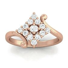 0.24ct GH SI Real Round Diamonds Cluster Anniversary Ring Women 14K Rose Gold