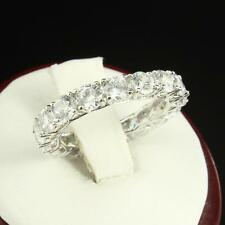 Solitaire Round Cut Eternity Promise Ring Lab Diamonds Sterling Silver 925 Sale