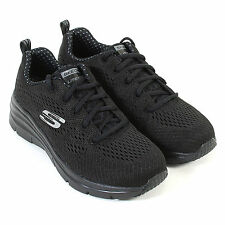 Skechers Fashion Fit Womens Girls Trainers Statement Piece in Black Size 4, New