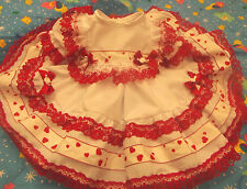 DREAM BABY XMAS RED LACE HEARTS NETTED DRESS 0 - 18 MONTHS  OR REBORN DOLLS