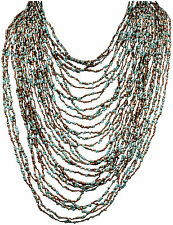 32 STRANDS/TURQUOISE/BROWN-GRADUATED BEADED NECKLACE