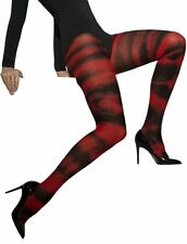 Red and Black Tie Dye Print Opaque Tights Adult Hosiery Fancy Dress Accessory