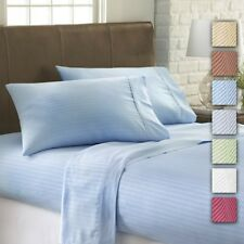 4-piece Set: 1800 Series Embossed Striped Bed Sheet Collection