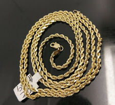 Real 10K Yellow Gold 3mm Rope chain Variation 18-30 Inches, Franco,link, 10kt