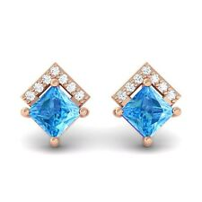 Blue Topaz IJ SI Diamonds Princess Gemstone Stud Earrings 14K Rose Gold