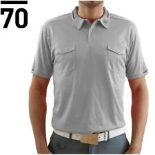 Sub70 Tour Light Grey Polo Stripe Golf Shirt SubSeventy Performance Pink Collar