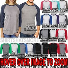 Next Level UNISEX 3/4 Sleeve Raglan Baseball T-Shirt Tri Blend Plain Tee NEW!