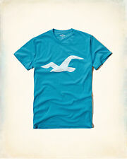 New Hollister by Abercrombie Logo Graphic TEE L,XL BLUE AUTH
