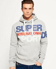 New Mens Superdry International Sport Panel Hoodie Grey Marl