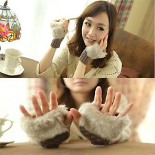 Hand Mittens High Quality Warmer Wool Fingerless Wrist Faux Rabbit Fur Gloves