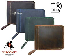 Visconti Mens RFID  Wallet Real Leather Zip-Around Hunter New in Gift Box