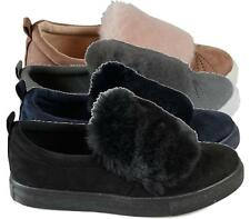 WOMENS LADIES SLIP ON FAUX SUEDE FUR TRAINERS SNEAKERS SHOES SKATERS PUMPS SIZE