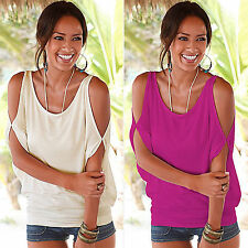 Sexy Womens Summer Off Shoulder T-Shirt Ladies Loose Casual Tops BlouseS UK 6-16