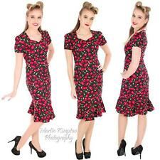 RED CHERRY PENCIL FISHTAIL DRESS ROCKABILLY VINTAGE ALTERNATIVE WIGGLE RETRO