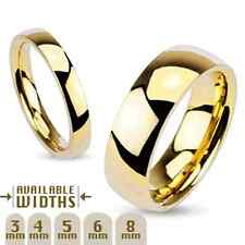 316L Stainless Steel Gold IP Polished Comfort Fit Wedding Band Ring, Choose Size