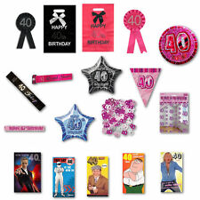 40th Birthday Party Range, Balloons, Rosettes, Bags, Cards, Banners, Confet NEW