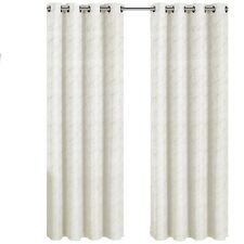 Tabitha Off-White / Ivory Grommet Jacquard Window Curtain Panel, 1 Single Panel