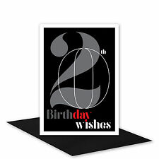 20th Birthday Wishes card for boy girl 20 Happy birthday card for her him black