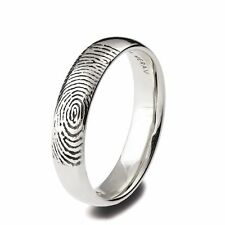 Finger Print Wedding Ring, Personalized 14k White Gold Band, Unique Men's Ring