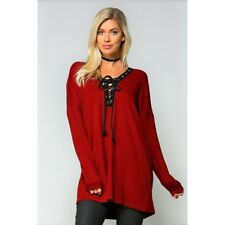 Tie Up Lace Up Front Tunic Length Sweater New S M L Burgundy Black Relaxed Fit